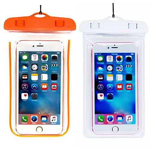 (2Pack) Universal Waterproof Phone Case, IPX 8 Phone Pouch Dry Bag Neck Strap Compatible with iPhone XR X XS MAX/8 Plus/8/7/6S Plus, Samsung Galaxy S9,S8 S8 Plus, up to 6.5