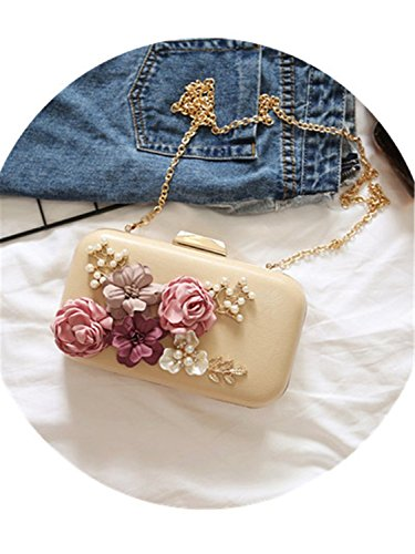 Female White Small Pacchetto Bag Dinner Sposi d'onore Shoulder Fashion Damigella Flowers Square Dorathywatm Diagonal Clutch Trend PU albicocca P1FdzP4
