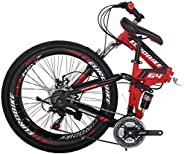 Folding Bike G4 21 Speed Mountain Bike 26 Inches 36 Spoke Wheels Dual Suspension Bicycle (36-red)