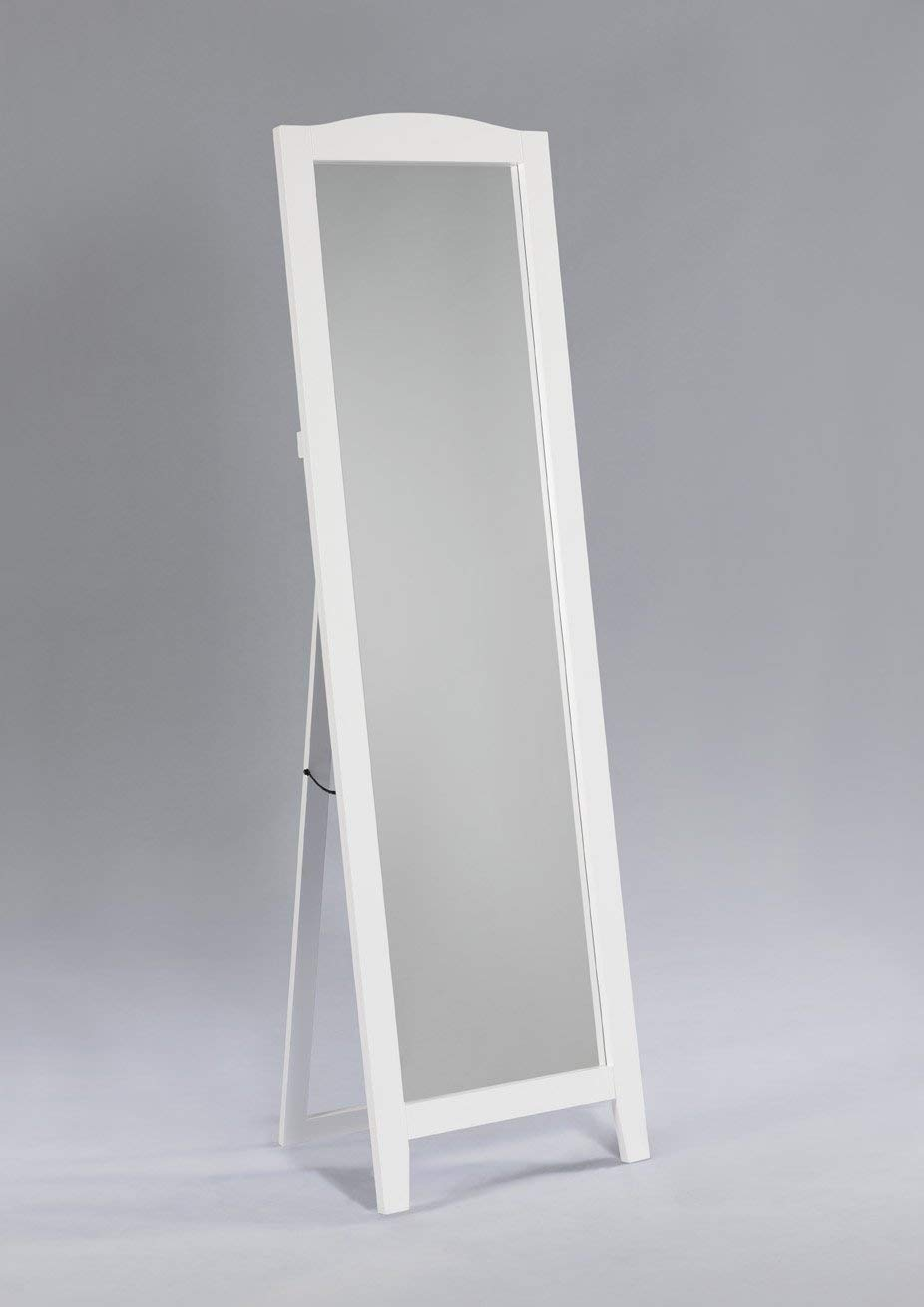 Kings Brand White Finish Wood Frame Floor Standing Mirror King' s Brand M9055-WH