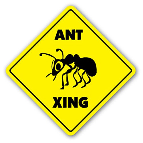 Ant Crossing Sign Xing Gift Novelty Red Black