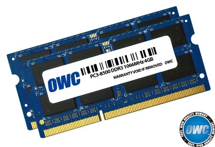 OWC 8.0 GB (2x 4GB) PC8500 DDR3 1066 MHz 204-pin Memory Upgrade Kit For MacBook Pro, MacBook, Mac mini and iMac (Apple Mac Pro Memory)