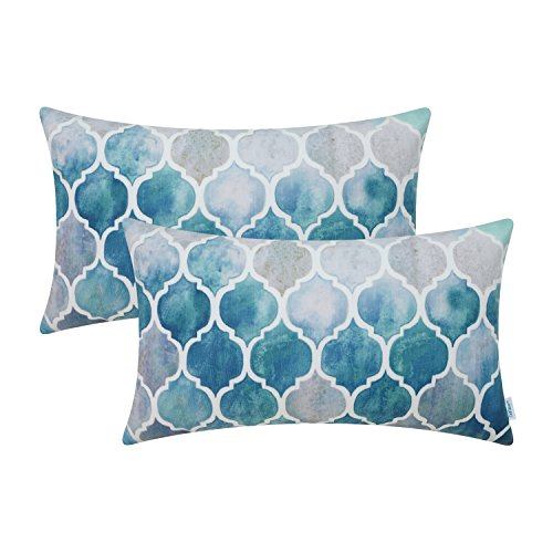 Rectangle Decorative Toss Pillow (CaliTime Pack of 2 Cozy Bolster Pillow Cases Covers for Couch Bed Sofa Manual Hand Painted Colorful Geometric Trellis Chain Print 12 X 20 Inches Main Grey Teal)