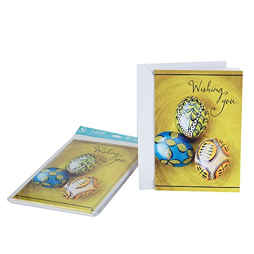 Hallmark Easter Greeting Cards (Three Eggs, 6 Cards and 6 Envelopes)