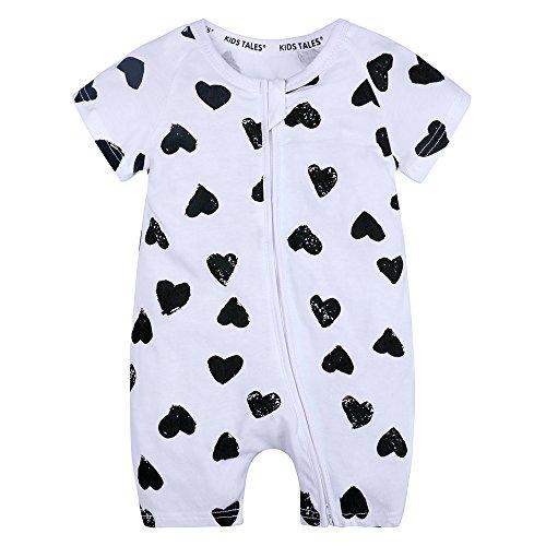 Kids Tales Baby Girls Short Sleeve Cotton Pajamas Infant Graphic Zipper Romper White