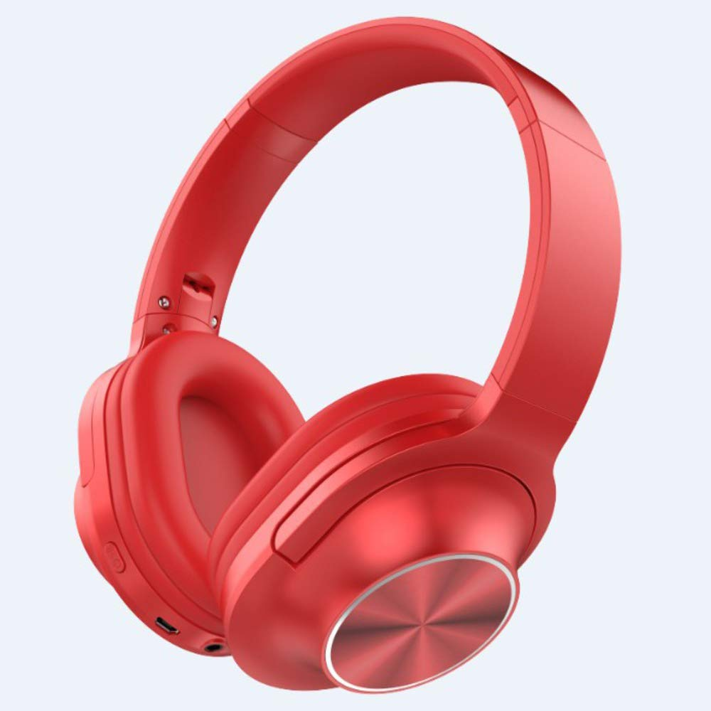 Telescopic Arms Bass Stereo Bluetooth Connectivity Over Ear Headphones, Soft Ear Pads Foldable with Noise Cancelling Wireless Music Headphones-red