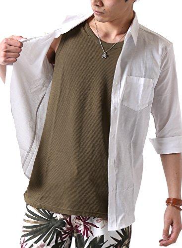 予知矛盾手つかずの(アーケード) ARCADE メンズ 綿麻リネン ストレッチ オックス 七分袖シャツ 綿麻シャツ カジュアルシャツ