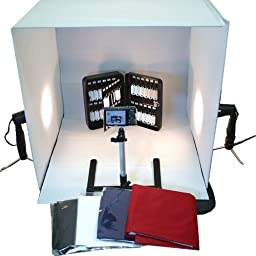 BlueDot Trading-Photo Tabletop Studio Light 24-Inch/60cm Tent Box Kit with 2 Lamps and Camera Stand - Large Photobox (White)