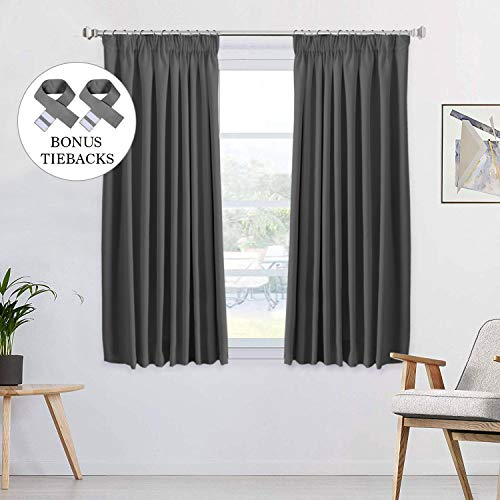 100% Blackout Charcoal Grey Pencil Pleat Curtains Thermal Insulated Noise...