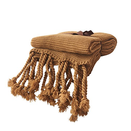 Weave Sofa (LIFEREVO Solid Plain Acrylic Throw Bed Blanket Cable Knit with Braid Tassels Checkered Weave Couch Cover(51