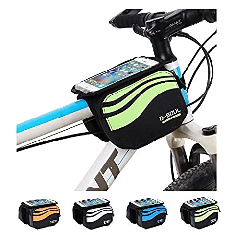 Bike Frame Bag LECCER Double Pouch Front Tube Bag with 3 in 1 Design Super Light Cycling Bike Front Bag Pannier Double Pouch for up to 5.7 inch Cellphone - Front Pannier