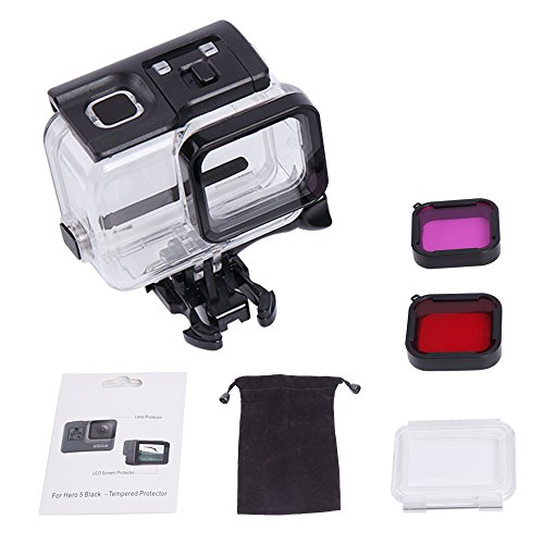 LITFAD Acrylic Housing Case Cover, Underwater Waterproof Protective Shell, PET Touch Backdoor, Glass Screen Protector and Red+Purple Gopro Filter Kit for Gopro Hero 6 Hero 5 Accessories Action Camera