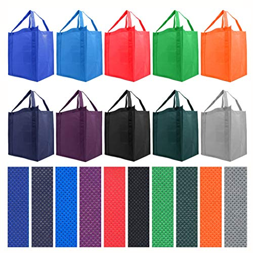 Simply Green Solutions Reusable Reinforced Handle Grocery Tote Bag Large 10 Pack - 10 Color Variety -