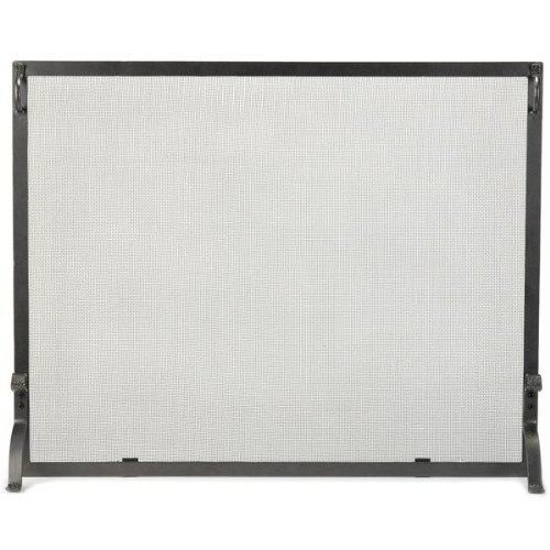 Chimney 61225 Natural Wrought Iron Single Panel Screen - 44 Inches x 33 (Woodfield Fireplace Tools)