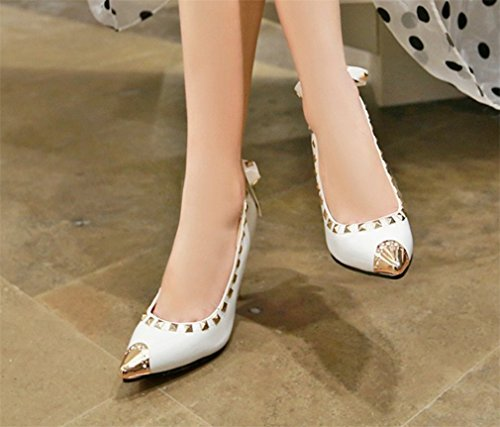 Wedding Heels eu37 Regina a white Donna Lucky Rivet Mid Colori Sandali Tacchi Scarpe Party Sexy Clover Girls Bridal Alti Dancing Punta 3 wq4W017q