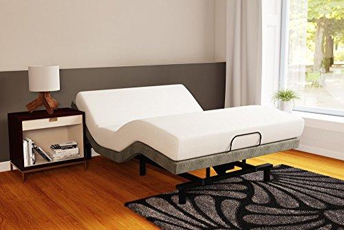 Signature Sleep Memoir 8-Inch Memory Foam Mattress Power Upholstered Adjustable Metal Bed/Foundation Set, Queen, Grey Base