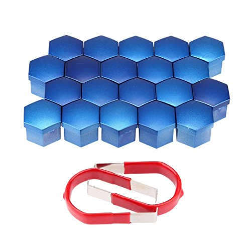 IKevan Hot, 20 Pcs 17MM Chrome Alloy Wheel Nuts Lugs Bolts Cap Covers Protector Plastic (Blue)