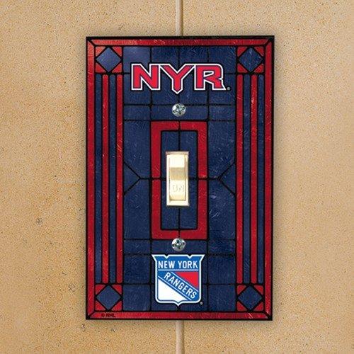 (NHL New York Rangers Navy Blue Art-Glass Switch Plate)