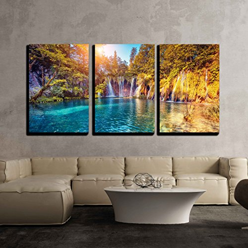 Majestic View on Turquoise Water and Sunny Beams in the Plitvice Lakes National Park x3 Panels