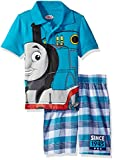 Thomas & Friends Toddler Boys' 2 Piece Thomas Polo and Plaid Short Set, Blue, 4t
