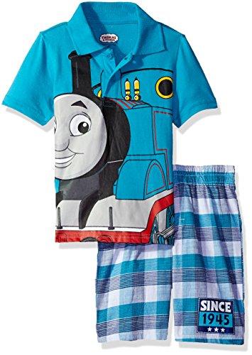 Thomas & Friends Boys' Toddler 2 Piece Thomas Polo and Plaid Short Set, Blue 3t