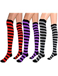 Womens Extra Long Striped Socks(Over Knee High Opaque Stockings) & Long Arm Warmer Gloves(Punk Gothic Rock)