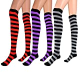 3 Pairs Wide Stripes Womens Extra Long Striped Socks(Over Knee High Opaque Stockings) (Black&Purple Black&Grey Black&Red), OneSize)