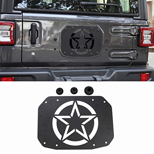 Tire Accessory Chrome Spare Trim (YOCTM Black Spare Tire Carrier Delete Filler Plate Tramp Stamp + 3 Tailgate Rubber Plugs Set for Jeep Wrangler JL 2018 Removed Tire Carrier Bumper Tramp Stamp (Pentagram))