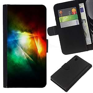 All Phone Most Case / Oferta Especial Cáscara Funda de cuero Monedero Cubierta de proteccion Caso / Wallet Case for Sony Xperia Z1 L39 // Dark Light Rainbow Color Lines Abstract