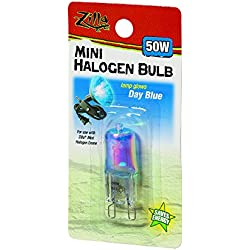 Zilla Reptile Terrarium Heat Lamps Mini Halogen Bulb, Day Blue, 50W