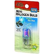 Zilla Reptile Terrarium Heat Lamps Mini Halogen Bulb, Day Blue, 50W