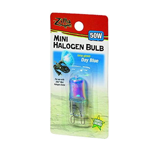 (Zilla Reptile Terrarium Heat Lamps Mini Halogen Bulb, Day Blue, 50W)