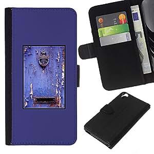 Planetar® Modelo colorido cuero carpeta tirón caso cubierta piel Holster Funda protección Para HTC Desire 820 ( Purple Rustic Door Mailbox Paint Peeling )