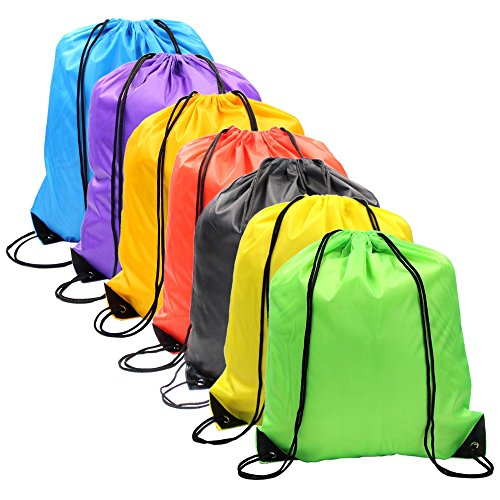 (Drawstring Backpack Bags Sack Pack Cinch Tote Sport Storage Polyester Bag for Gym Traveling,7 Colors)
