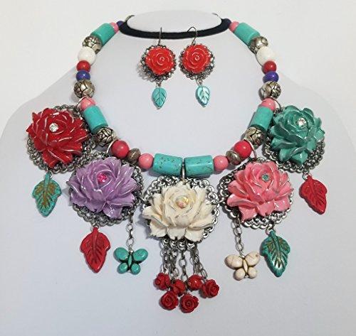5 Carved Lotus Flowers Roses Leaves Bib Gemstone Necklace Earrings One of a Kind