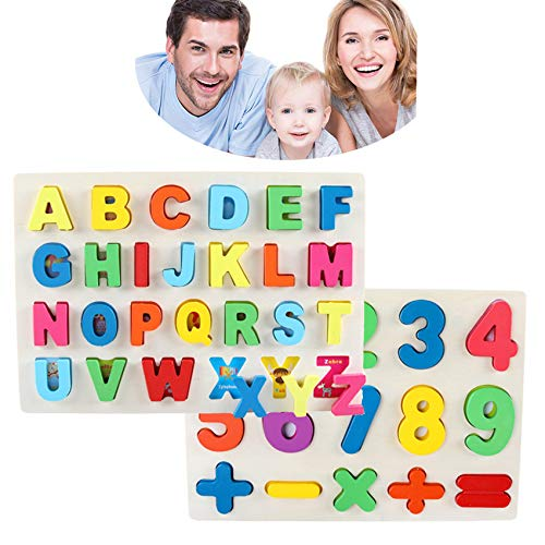 3 Years, Toddler Puzzles, Alphabet Puzzle - Wooden Jigsaw Brain Development Games for Toddler,Alphabet and Animal Shape Cognition for Kids ()