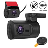 Dual Dash Cam Mini 0906 Full HD 1080P Front and Rear Dash Cam Capacitor Car DVR Recorder with 275 Degree Wide Angle,Super Night Vision,GPS,Motion Detection,WDR,Wireless Remote,Up To 128GB