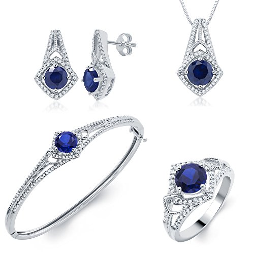 Blue Sapphire and Diamond Accent Ensemble 4 Piece Jewelry Set by DiamondMuse