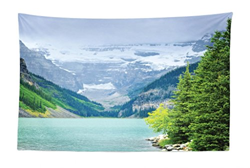 Lunarable Landscape Tapestry, Landscape of Lake Louise and Mountains with Snows Alpine Trees in Alberta Canada, Fabric Wall Hanging Decor for Bedroom Living Room Dorm, 45 W X 30 L inches, Green White