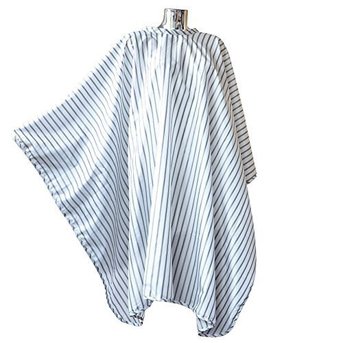 [DMI Vintage Barber Cape, Hairdressing Cape, Black On White Pinstripe Fits All] (Black And White Cape)