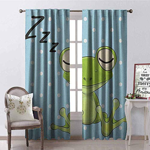Gloria Johnson Cartoon Shading Insulated Curtain Sleeping Prince Frog in a Cap Polka Dots Background Cute Animal World Kids Design Soundproof Shade W42 x L90 Inch Green Blue ()