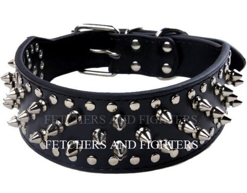 """OrangeTag 17""""-20"""" Black Faux Leather Spiked Studded Dog Collar 2"""" Wide, 31 Sp..."""