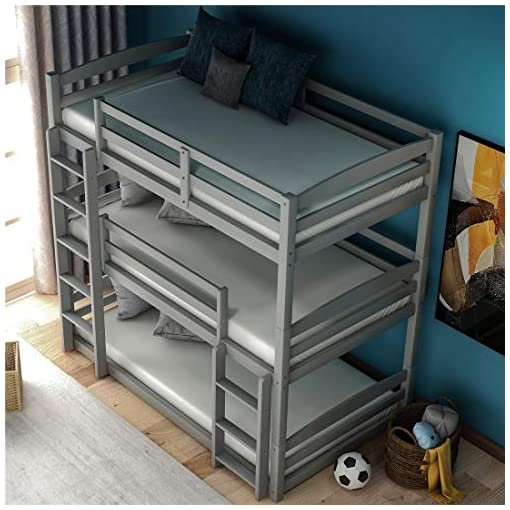 Bedroom Triple Bunk Bed for Kids Low Bunk Beds Frame Wood,Gray bunk beds