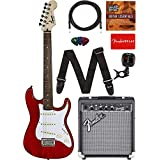 "Squier by Fender Short Scale (24"") Stratocaster - Transparent Red Bundle with Frontman 10G Amp, Cable, Tuner, Strap, Picks, Fender Play Online Lessons, and Austin Bazaar Instructional DVD"