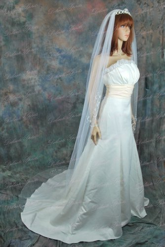 Bridal Veil White 1 Tier Cathedral Length With Sequins, Faux Pearls, Bugle Beads by Velvet Bridal (Image #1)