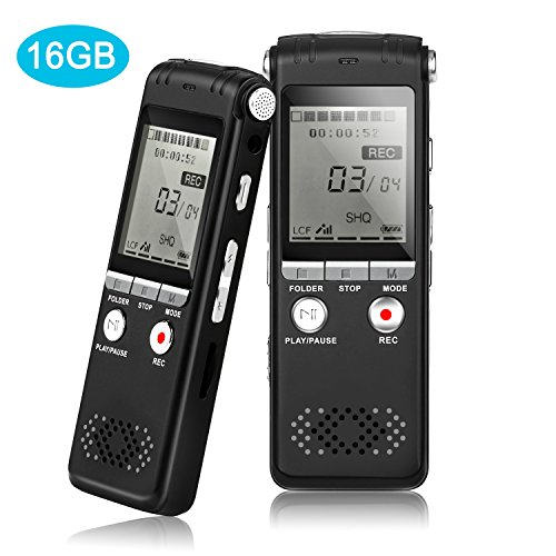 Digital Voice Recorder, 16GB Audio Sound Recorder Dictaphone with MP3 Player, Auto Saving File,Noise Reduction Voice Recorder for Lecture, Class, Meeting, Interviews,Speech