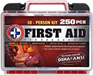 """""""Be Smart Get Prepared 250Piece First Aid Kit, Exceeds OSHA Ansi Standards for 50 People - Office, Home,"""
