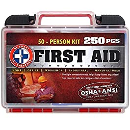 """Be Smart Get Prepared 250Piece First Aid Kit, Exceeds OSHA Ansi Standards for 50 People – Office, Home, Car, School, Emergency, Survival, Camping, Hunting, Sports"""