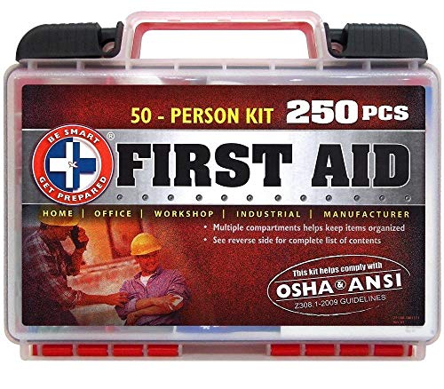 Be Smart Get Prepared 250 Piece First Aid Kit - Exceeds OSHA Ansi Standards for 50 People - Office, Home, Car, School, Emergency, Survival, Camping
