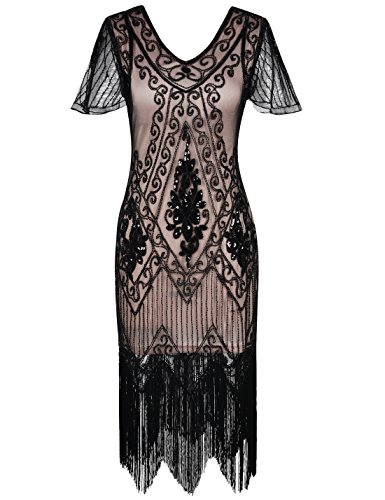 PrettyGuide Women's 1920s Dress Art Deco Sequin Fringed Flapper Dress L Black Beige